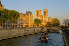 Notre Dame cathedral with boat in Paris, France Royalty Free Stock Photos