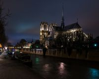 Notre Dame Cathedral from Bridge stock image