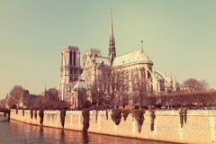 Notre Dame cathedral in the center of Paris, France, on a sunny Stock Image
