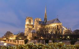 The Notre Dame Cathedral and Christmas tinsel - Paris, France. The Notre Dame Cathedral and Christmas tinsel in the foreground at night - Paris, France Royalty Free Stock Image