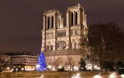 The Notre Dame Cathedral with Christmas tree - Paris, France Stock Photo