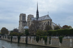 The Notre Dame Cathedral. On the Cite island Stock Photo