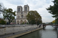The Notre Dame Cathedral. On the Cite island Royalty Free Stock Photo