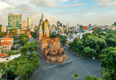 Notre Dame Cathedral at city center in Hochiminh city Royalty Free Stock Images