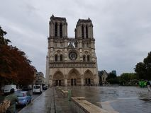 Notre Dame Cathedral on a cloudy day royalty free stock photo