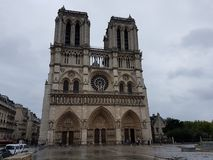 Notre Dame Cathedral on a cloudy day stock photography