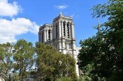 Notre Dame Cathedral dalla passeggiata della Senna Alberi, torri e guglia Parigi, Francia, cielo blu con le nuvole immagine stock libera da diritti