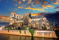 Notre Dame Cathedral at dusk in Paris, France Royalty Free Stock Photos