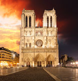 Notre Dame Cathedral at dusk in Paris, France Royalty Free Stock Images