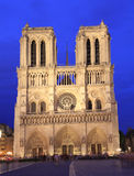 Notre Dame Cathedral at dusk, Paris Royalty Free Stock Photography