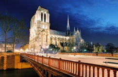 Notre Dame Cathedral at dusk in Paris, France Stock Images