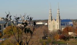 Notre Dame Cathedral en la opinión de Ottawa de la colina del parlamento Imagen de archivo libre de regalías