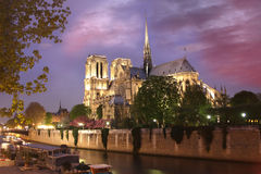 Notre Dame cathedral at evening, Paris, France. Notre Dame cathedral at evening with river Paris, France Royalty Free Stock Image