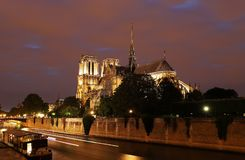 The Notre Dame Cathedral in the evening , Paris, France. The Notre Dame is historic Catholic cathedral, one of the most visited monuments in Paris, considered Stock Image