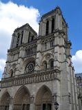 Notre Dame Cathedral, facade, clear day, Paris, France royalty free stock photos