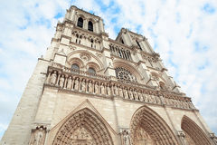 Notre Dame cathedral facade in Paris Royalty Free Stock Photo