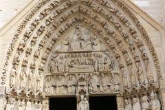 Notre Dame cathedral facade saint statues Stock Photos