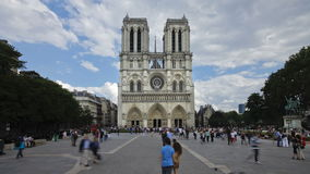 Notre dame cathedral a famous landmark in the center of paris with many tou stock video