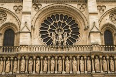 Notre-Dame Cathedral front enterance Stock Photography