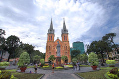 Notre Dame cathedral. HCMC, VIETNAM-JAN. 9 2014:  Tourist visiting the notre dame cathedral in Ho Chi Minh City, Vietnam Royalty Free Stock Image