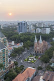 Notre Dame Cathedral, Ho Chi Minh city in sunset. Ho Chi Minh City has the most dynamic economy in Vietnam Stock Images