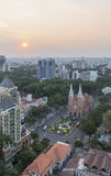 Notre Dame Cathedral, Ho Chi Minh city in sunset. Ho Chi Minh City has the most dynamic economy in Vietnam Royalty Free Stock Images