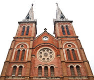Notre Dame Cathedral in Ho Chi Minh City Vietnam. Notre Dame Cathedral, Nha Tho Duc Ba, build in 1883 largest cathedral in French Empire Virgin Mary Statue Added Stock Photos