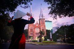 Notre dame cathedral. Ho chi minh city Vietnam royalty free stock photos