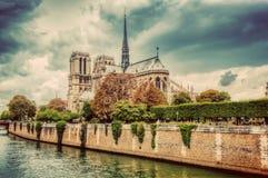 Notre Dame Cathedral i Paris, Frankrike och Seinet River Royaltyfri Fotografi