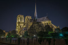 Notre Dame Cathedral. The Cathedral of Notre Dame on Ile de la Cite at midnight from Pont de l'Archeveche in Paris, France Stock Images