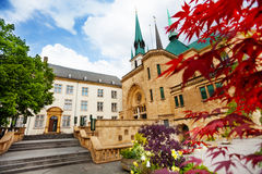 Notre-Dame Cathedral from inner yard, Luxembourg Royalty Free Stock Image
