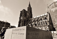 Notre Dame Cathedral inscription Royalty Free Stock Photography