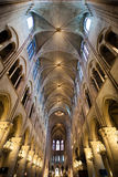 The Notre-Dame cathedral interior Stock Photography
