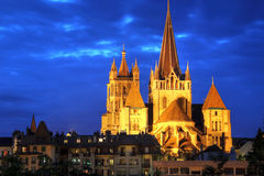 Notre-Dame Cathedral of Lausanne, Switzerland. Notre-Dame de Lausanne is the crown-jewel of the swiss city of Lausanne on the shores of Lake Geneva (Leman) stock photos