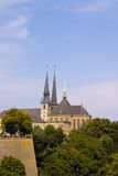 Notre-Dame Cathedral in Luxembourg with surrounding Royalty Free Stock Photo
