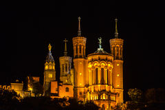 The Notre Dame Cathedral in Lyon, France Stock Photos