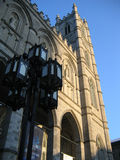 Notre Dame Cathedral in Montreal. Partial front view of Notre Dame Cathedral, Montreal, Quebec Royalty Free Stock Photo