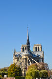 Notre Dame cathedral next to the river of Paris with boats and buildings summertime. Autumn Royalty Free Stock Photos