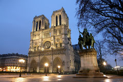 Notre Dame cathedral at night Royalty Free Stock Images