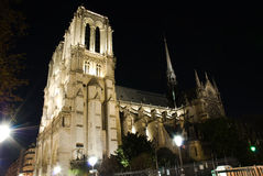 Notre Dame Cathedral at night Stock Photography