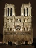 Notre Dame Cathedral at Night. Night scene of Notre Dame Cathedral in Paris, France stock photo