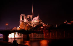 Notre Dame cathedral by night Royalty Free Stock Photos