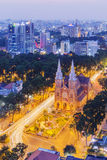 Notre Dame Cathedral in the night. Ho Chi Minh city. Ho Chi Minh City has the most dynamic economy in Vietnam Royalty Free Stock Photography