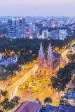 Notre Dame Cathedral in the night. Ho Chi Minh city. Ho Chi Minh City has the most dynamic economy in Vietnam Stock Image