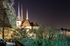 Notre dame cathedral in the night, Luxembourg. Europe Stock Photo