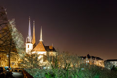 Notre dame cathedral in the night, Luxembourg. Europe Stock Photography