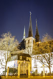 Notre dame cathedral in the night, Luxembourg. Europe Royalty Free Stock Photos
