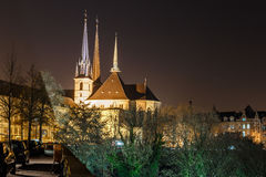Notre dame cathedral in the night, Luxembourg. Europe Royalty Free Stock Images