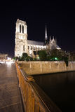 Notre Dame Cathedral at night. Paris, France Royalty Free Stock Photo