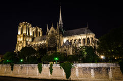 Notre Dame Cathedral at night – Paris, France Royalty Free Stock Photo